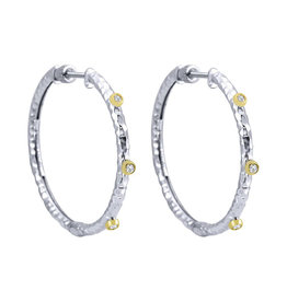 925 & 18K Y/G Hammered Hoop Earrings