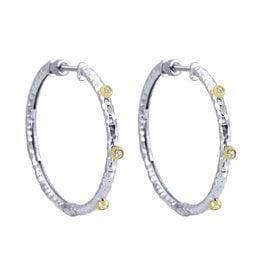 925 & 18K Y/G Hammered Hoop Earrings