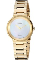 Ladies Seiko Solar Essentials Yellow Tone Watch with Mother of Pearl Dial, 27.5mm