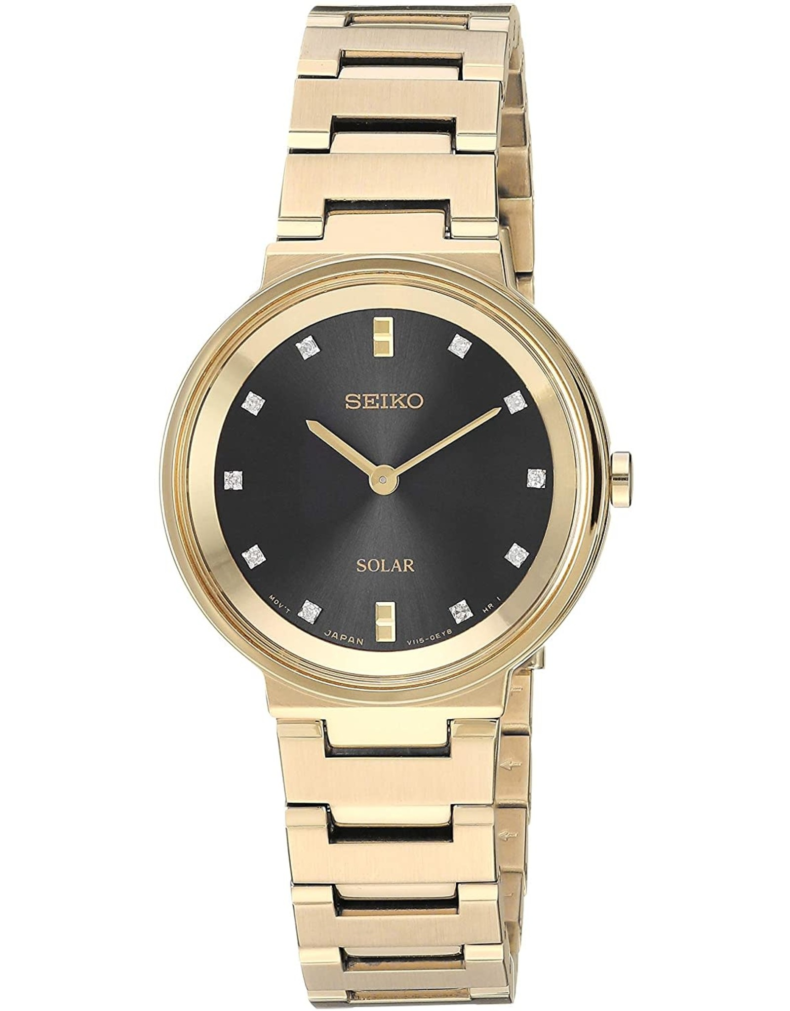 Ladies Seiko Solar Essentials Yellow Tone Watch with Diamond Dial, 27.5mm