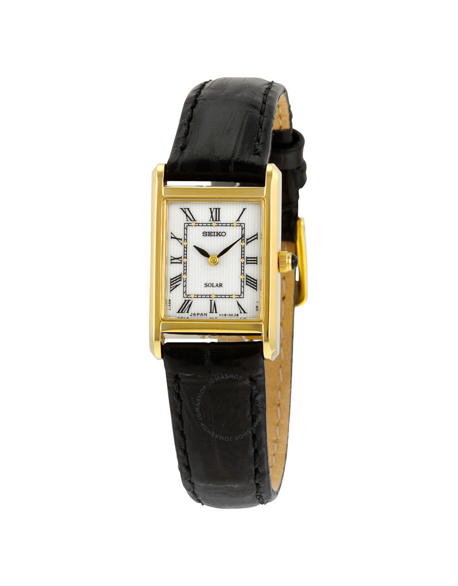 Ladies Seiko Solar Rectangular Roman Numeral Watch, 18mm