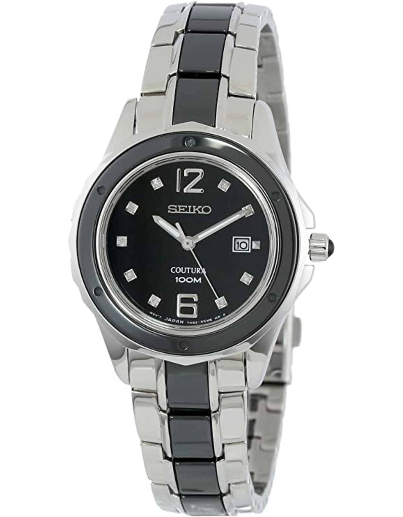 Ladies Seiko Coutura Watch with 2-tone Black Diamond Dial, 31mm