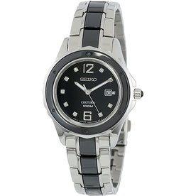 Ladies Seiko Coutura Watch with 2-tone Black Diamond Dial