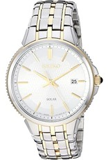 Mens Seiko Solar Essentials 2-tone Watch with Date, 38mm