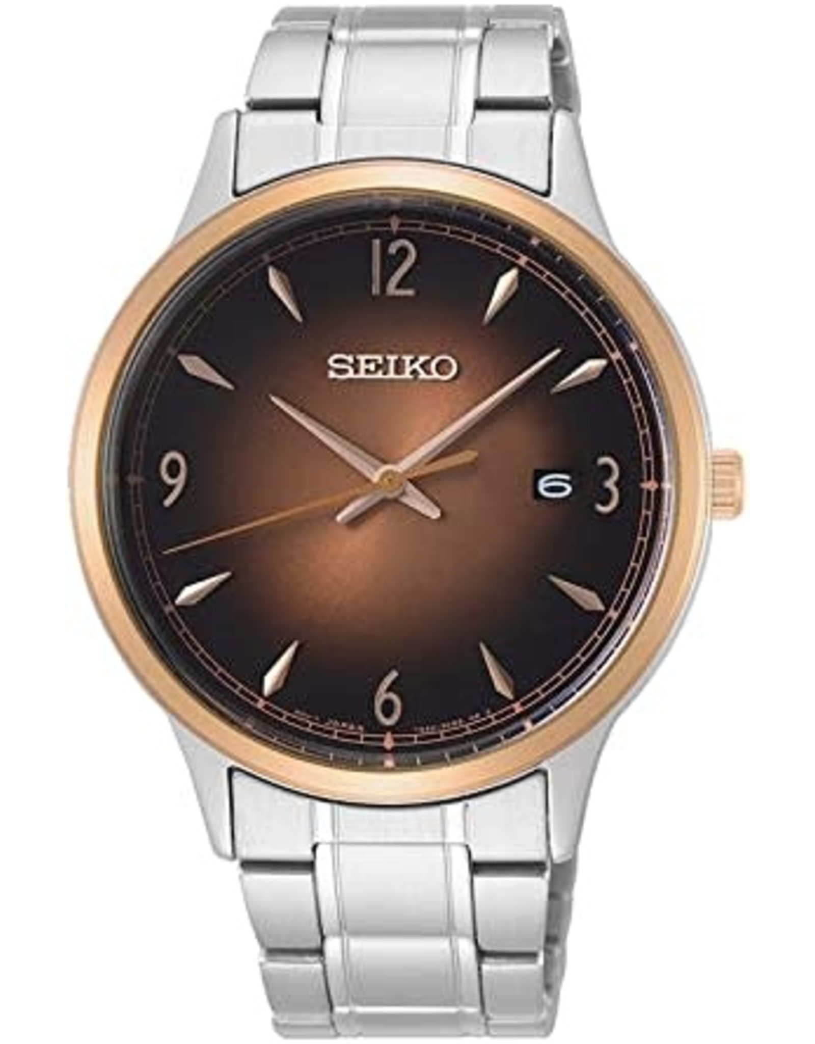 Mens Seiko Rose Gold Bezel and Brown Sunray Dial Watch with Date, 40mm