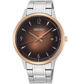 Mens Seiko Rose Gold Bezel and Brown Sunray Dial Watch with Date