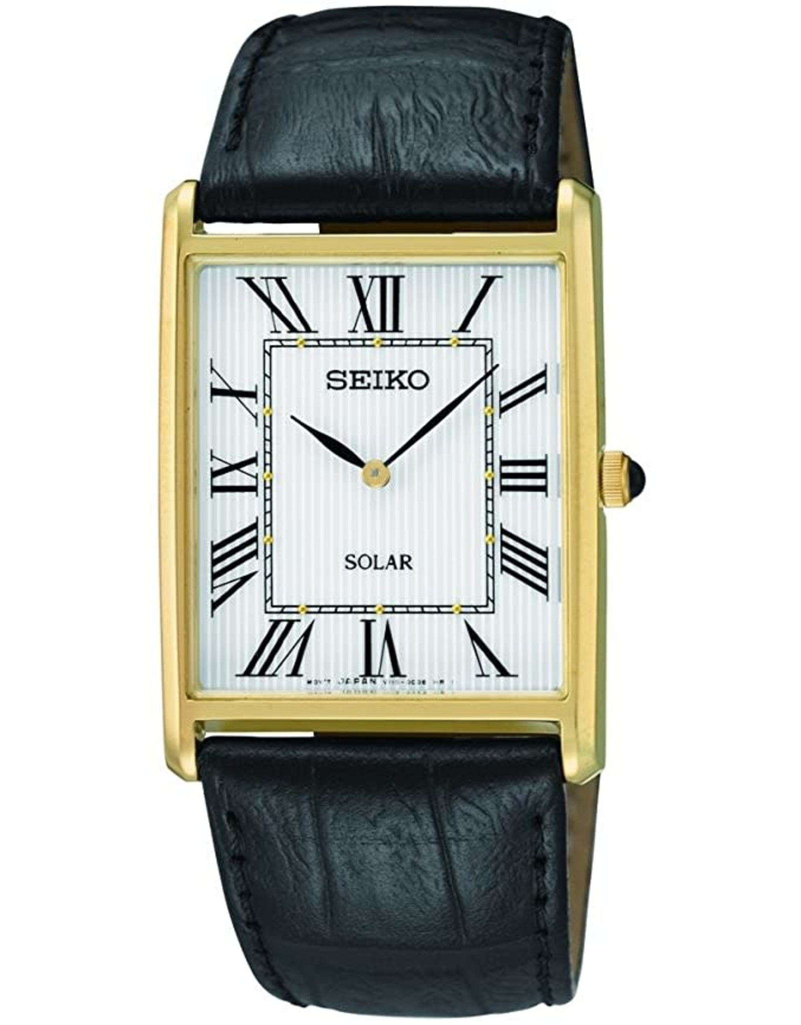 Mens Seiko Solar Rectangular Roman Numeral Watch, 28mm
