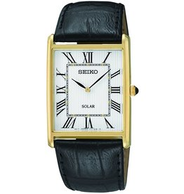 Mens Seiko Solar Rectangular Roman Numeral Watch