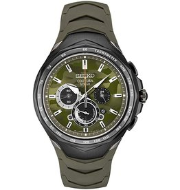 Mens Seiko Solar Chronograph Coutura Watch with Camo Green Dial