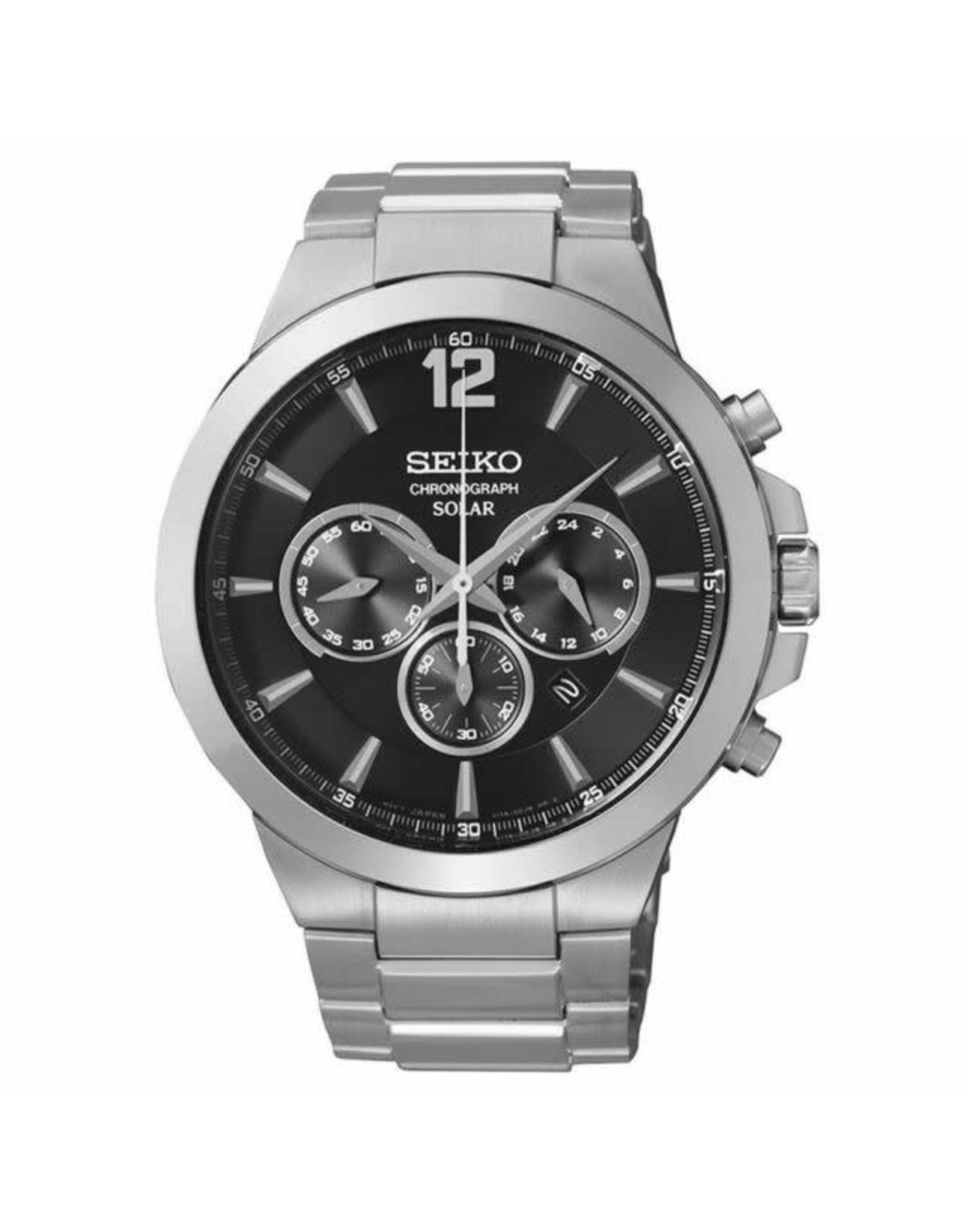 Mens Seiko Solar Chronograph Watch with Stainless Steel Band, 45mm