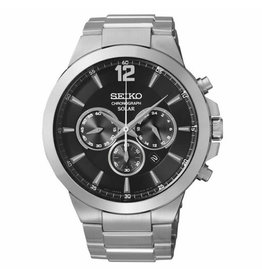 Mens Seiko Solar Chronograph Watch with Stainless Steel Band