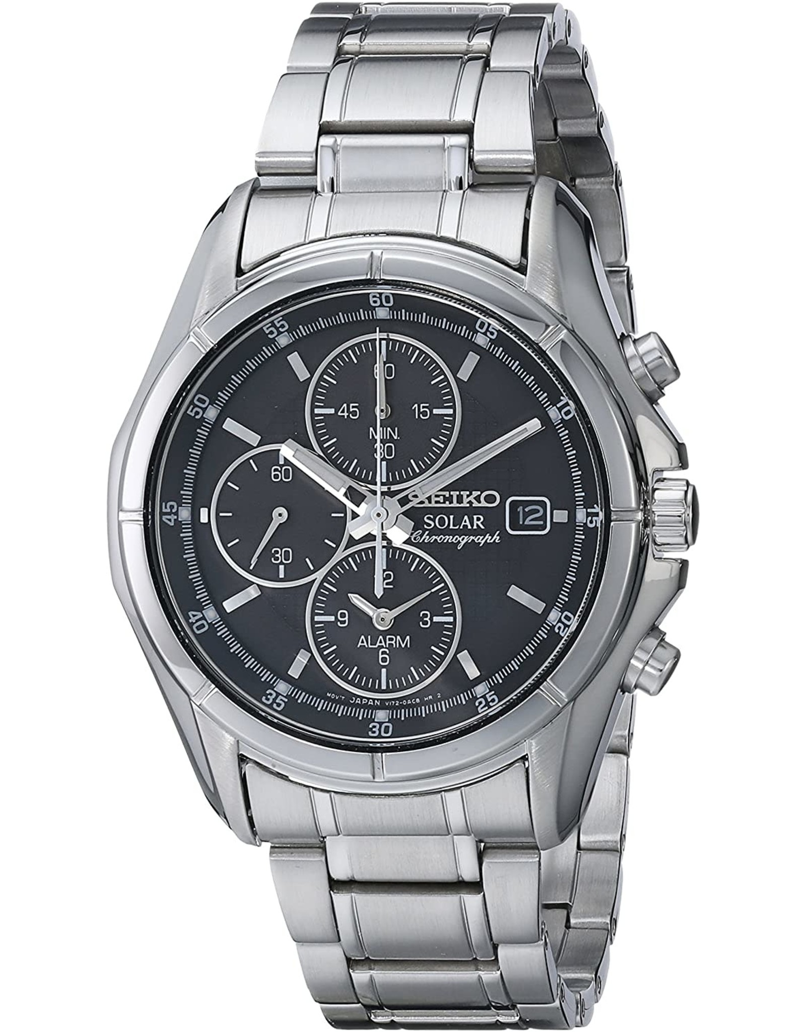 Mens Seiko Solar Chronograph Alarm Watch with Stainless Steel Band, 39mm