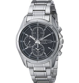 Mens Seiko Solar Chronograph Alarm Watch with Stainless Steel Band