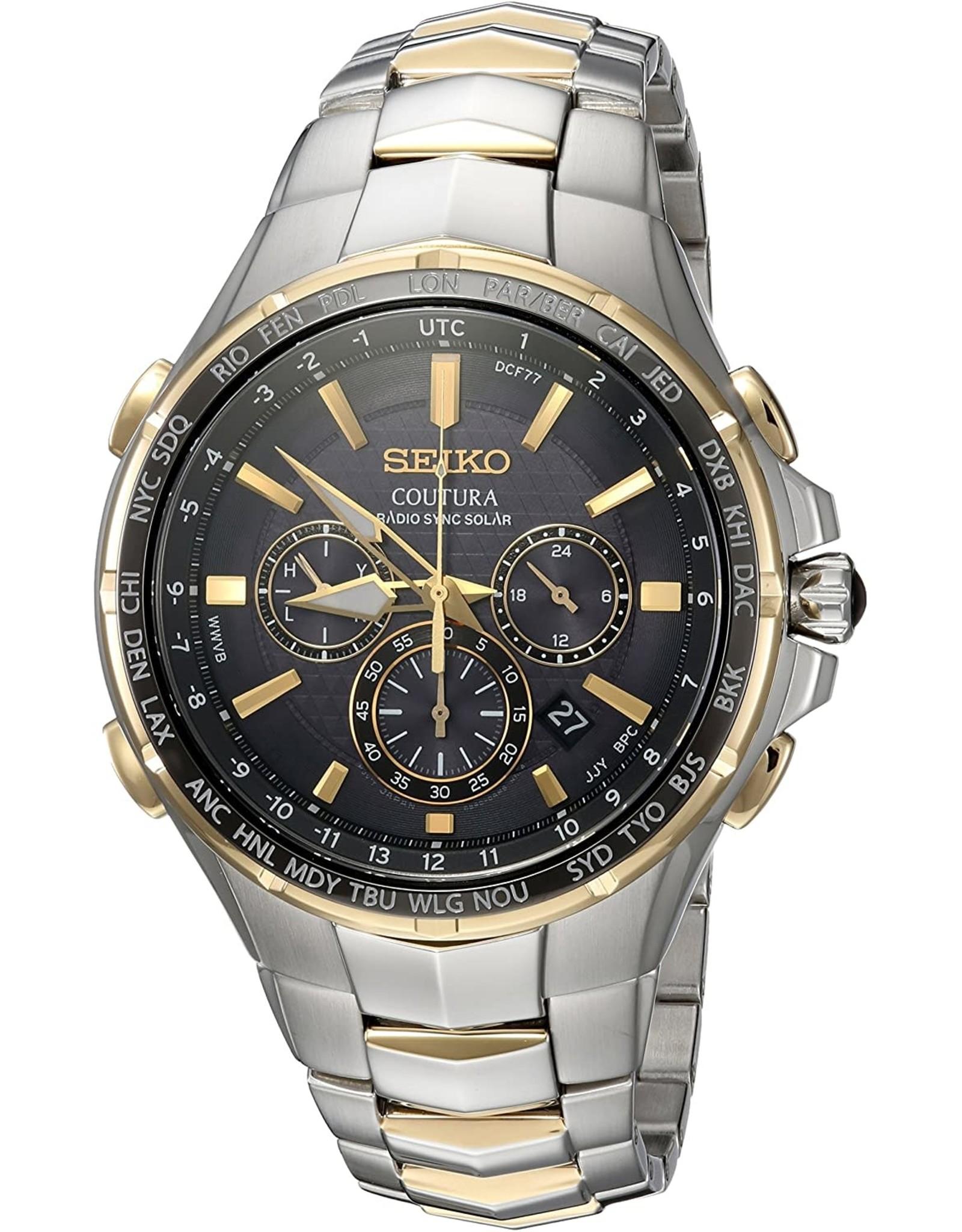 Mens Seiko Coutura Radio Sync Solar Two Tone Watch, 44.5mm