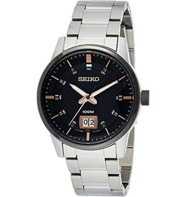 Mens Seiko Brown and Black Dial Essentials Watch with Stainless Steel Band