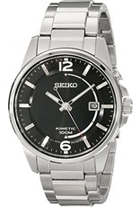 Mens Seiko Kinetic Stainless Steel with Black Dial Watch, 41mm