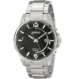 Mens Seiko Kinetic Stainless Steel with Black Dial Watch