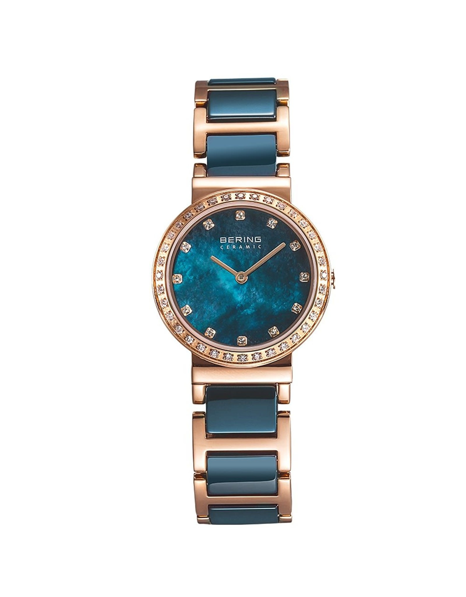 Ladies Blue Ceramic Bering Watch with Crystal Dial and Bezel