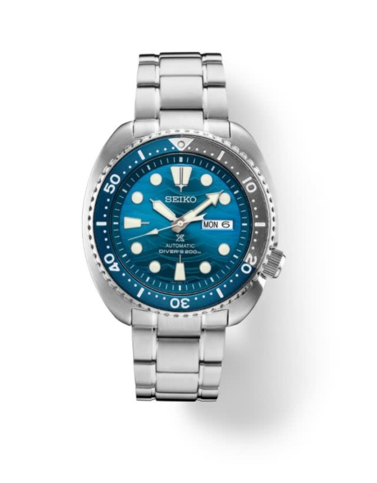 Mens Seiko Automatic Divers Watch with Stainless Steel Band and Royal Blue Dial, 45mm