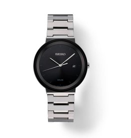 Mens Seiko Solar Sleek Minimalist Watch with Black Dial