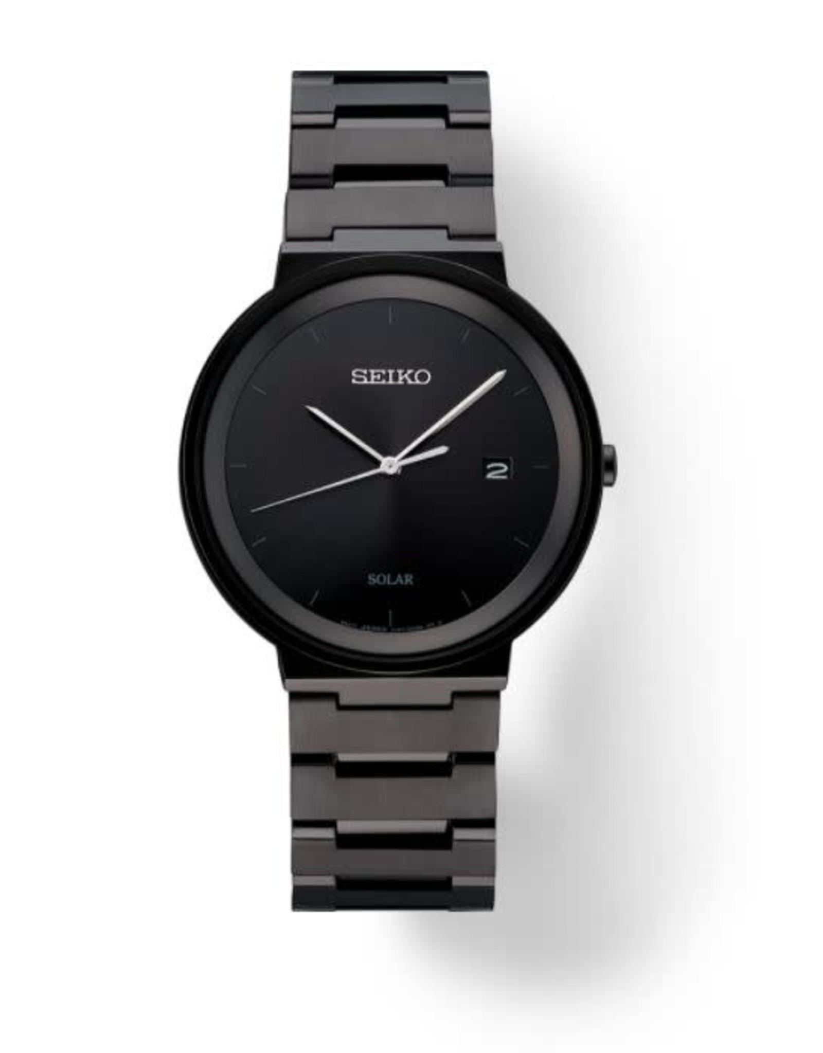 Mens Seiko Solar Sleek Minimalist Black Ion Watch, 40mm