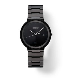 Mens Seiko Solar Sleek Minimalist Black Ion Watch