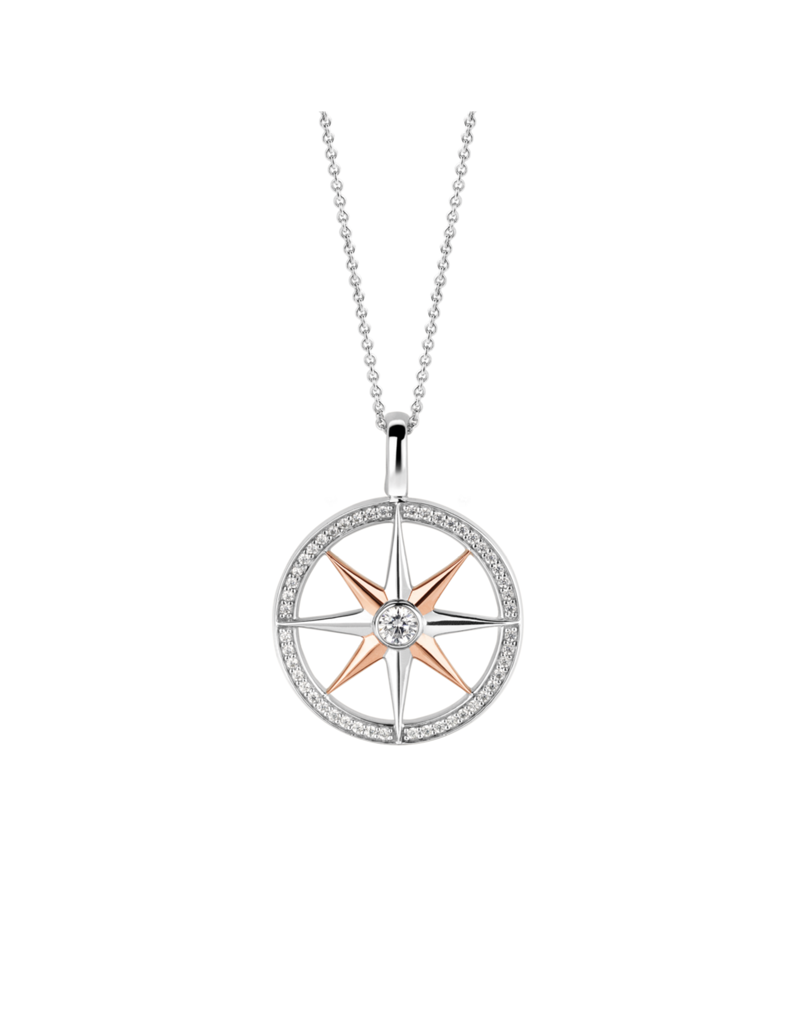 Large Two Tone Rose Gold Compass Pendant- 6769ZR