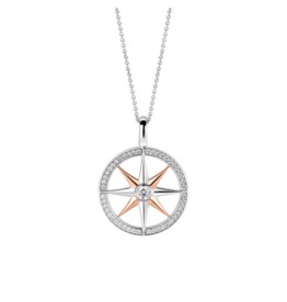 Large Two Tone Rose Gold Compass Pendant