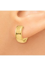 14K Yellow Gold Essential High Polished Huggie Earrings, 4.4mm