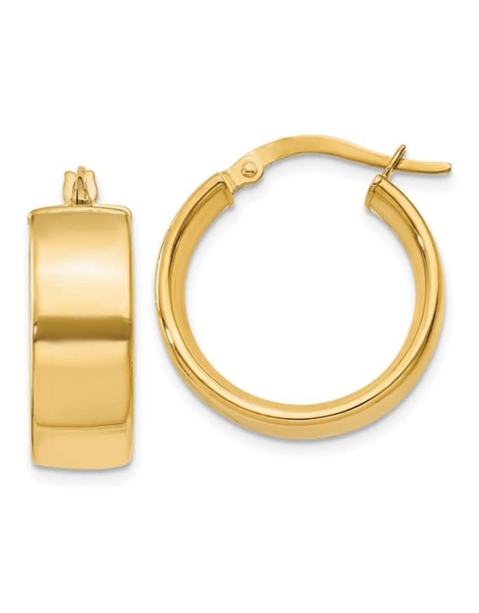 14K Yellow Gold Polished Chunky Hoop Earrings, 6mm