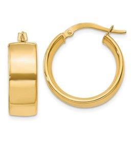 14K Y/G Polished Chunky Hoop Earrings