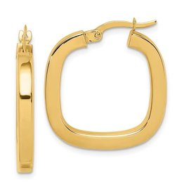 14K Y/G Square Tubed Hoop Earrings
