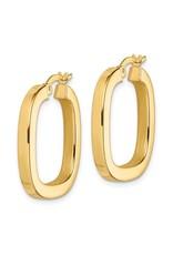 14K Yellow Gold Square Tubed Hoop Earrings, 3mm