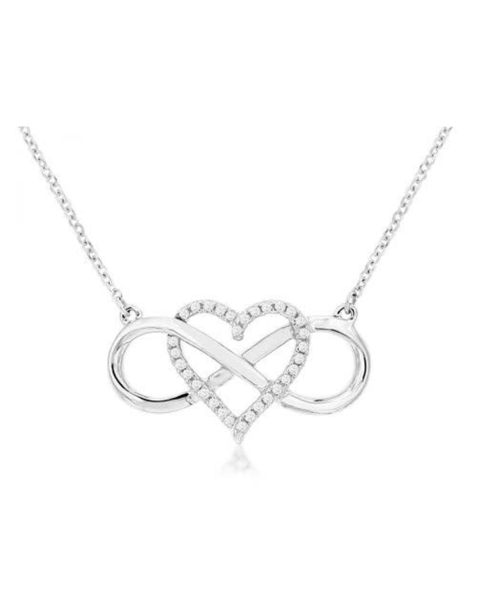 14K White Gold Woven Infinity & Diamond Heart Necklace, D: 0.09ct