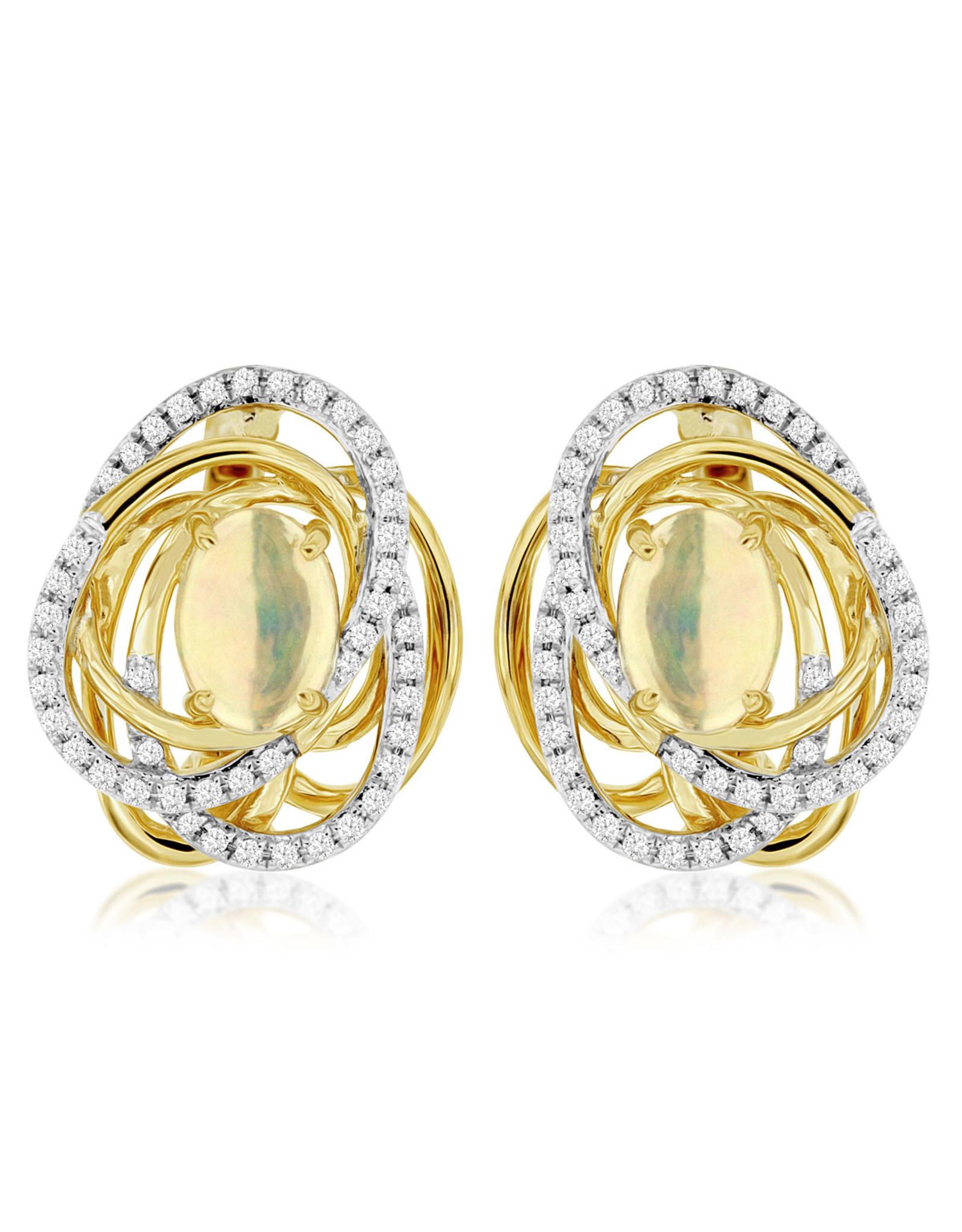 14K Yellow Gold Ethiopian Opal and Diamond Earrings, O: 1ct, D: 0.30ct