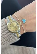 14K Yellow Gold Dainty Diamond Bracelet, D: 0.23ct