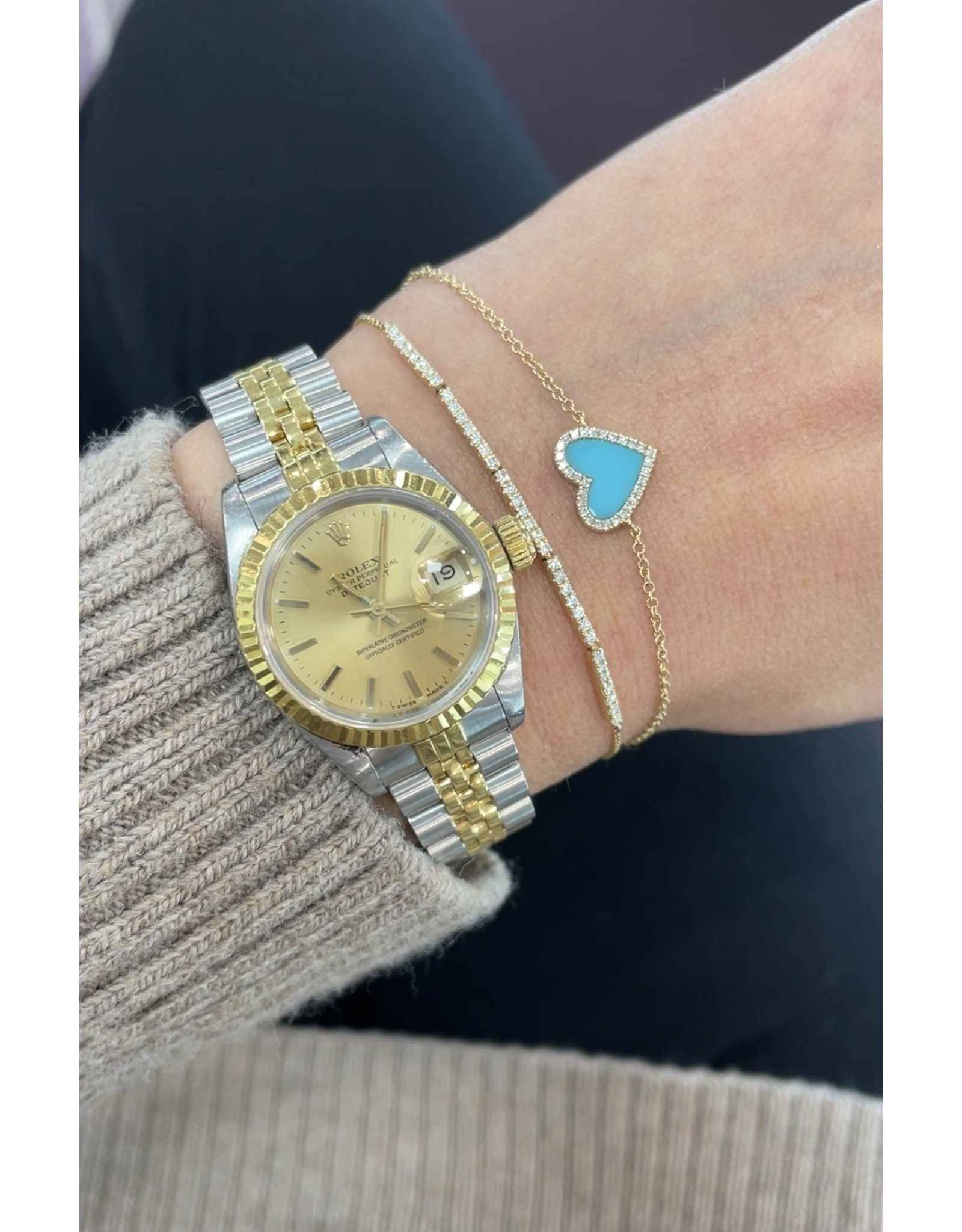 14K Yellow Gold Turquoise and Diamond Heart Bracelet, TQ: 0.60ct, D: 0.09ct