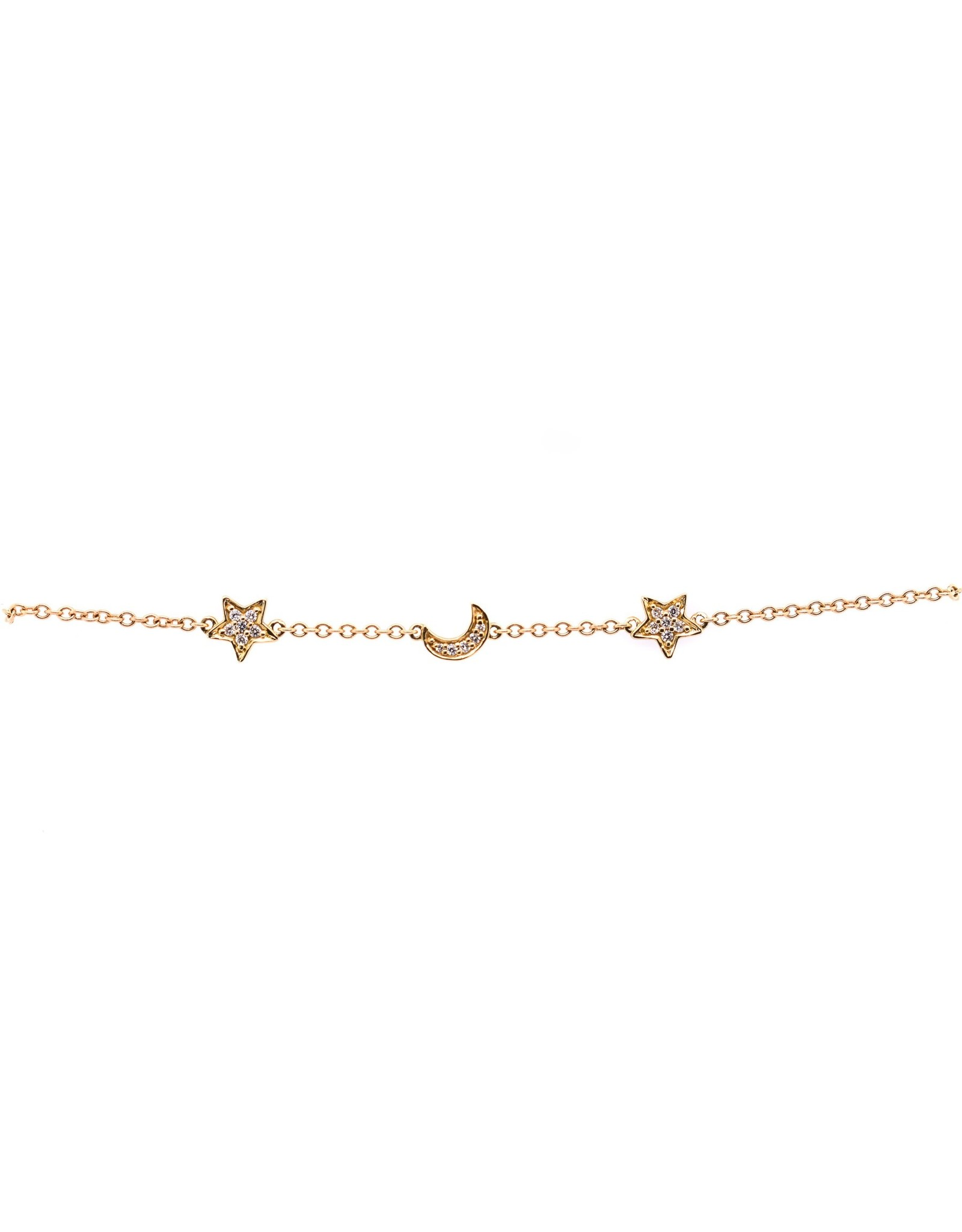 14K Rose Gold Dainty Diamond Star and Moon Bracelet, D: 0.10ct