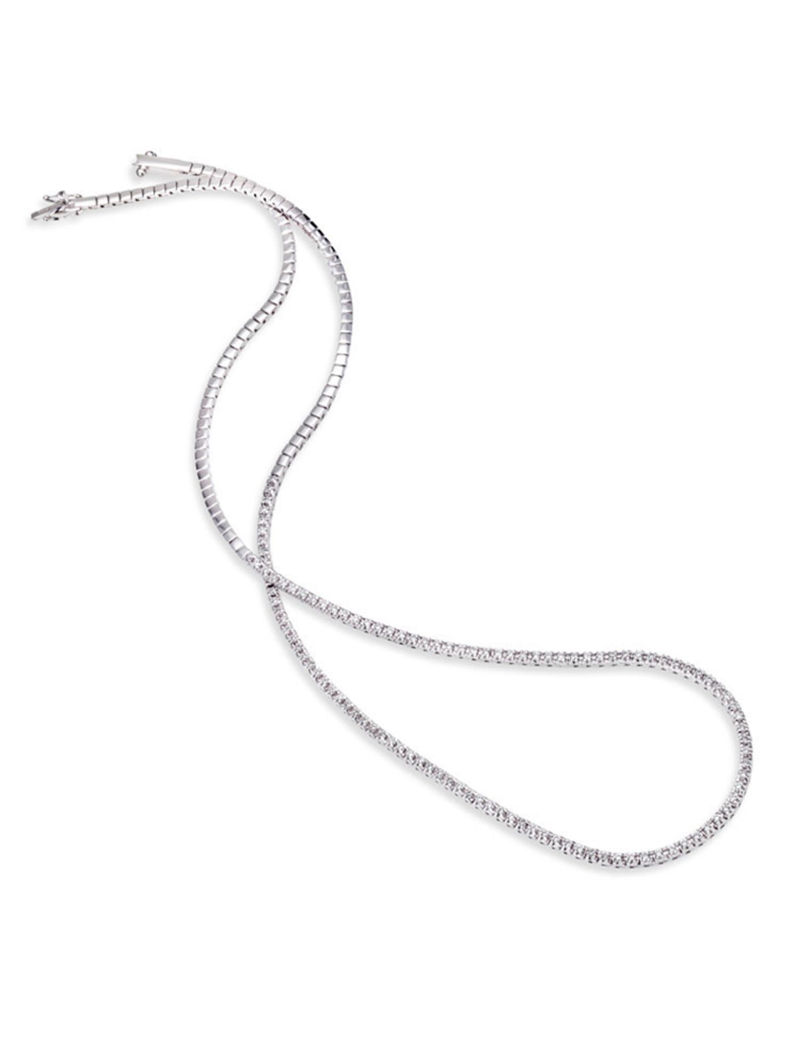 """14K White Gold Half- Around Tennis Necklace, 18"""", D: 0.80ct"""