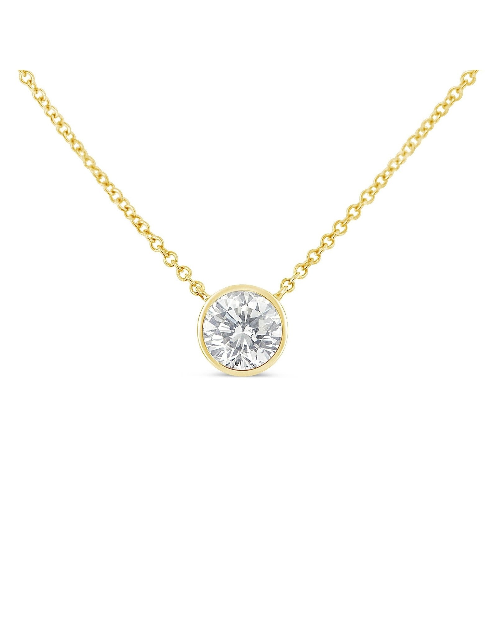 """18K Yellow Gold Diamond Solitaire Necklace, D: 0.48ct, 18"""""""