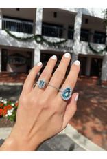 18K White Gold Pear Shaped Aquamarine and Diamond Ring, D: 1.31ct, AQ: 6.91ct