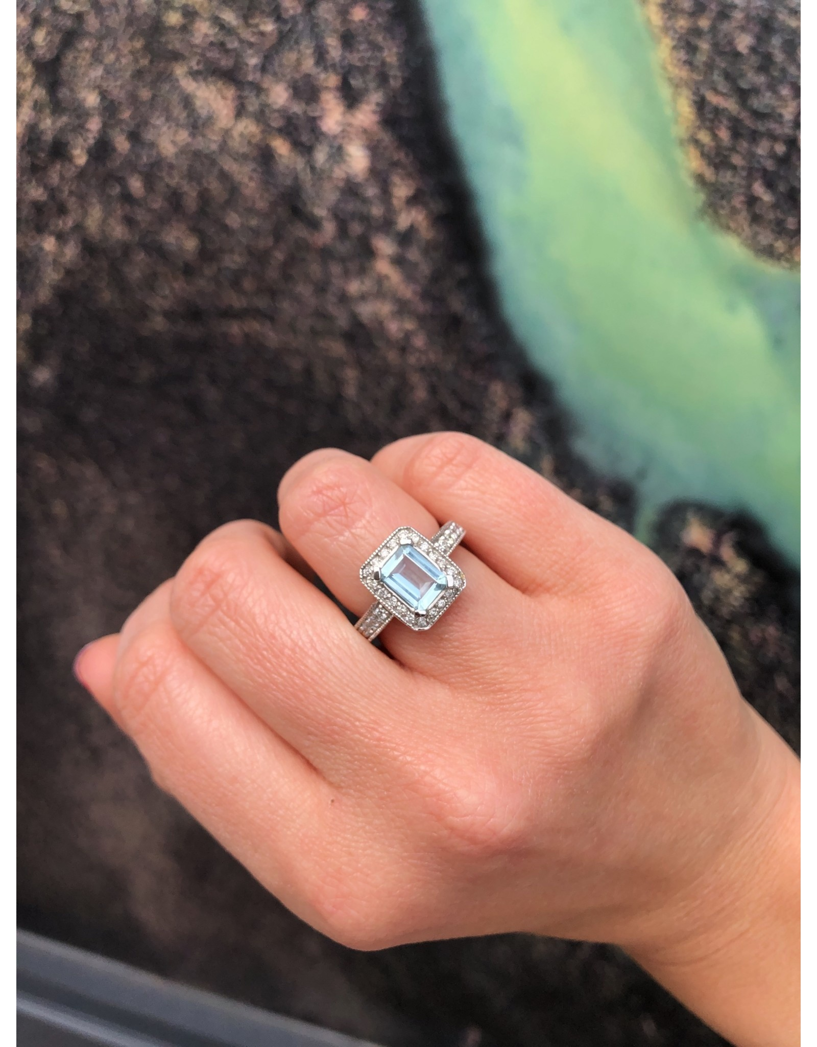 14K White Gold Aquamarine and Diamond Ring, AQ: Appx 1.45cts, D: 0.71cts