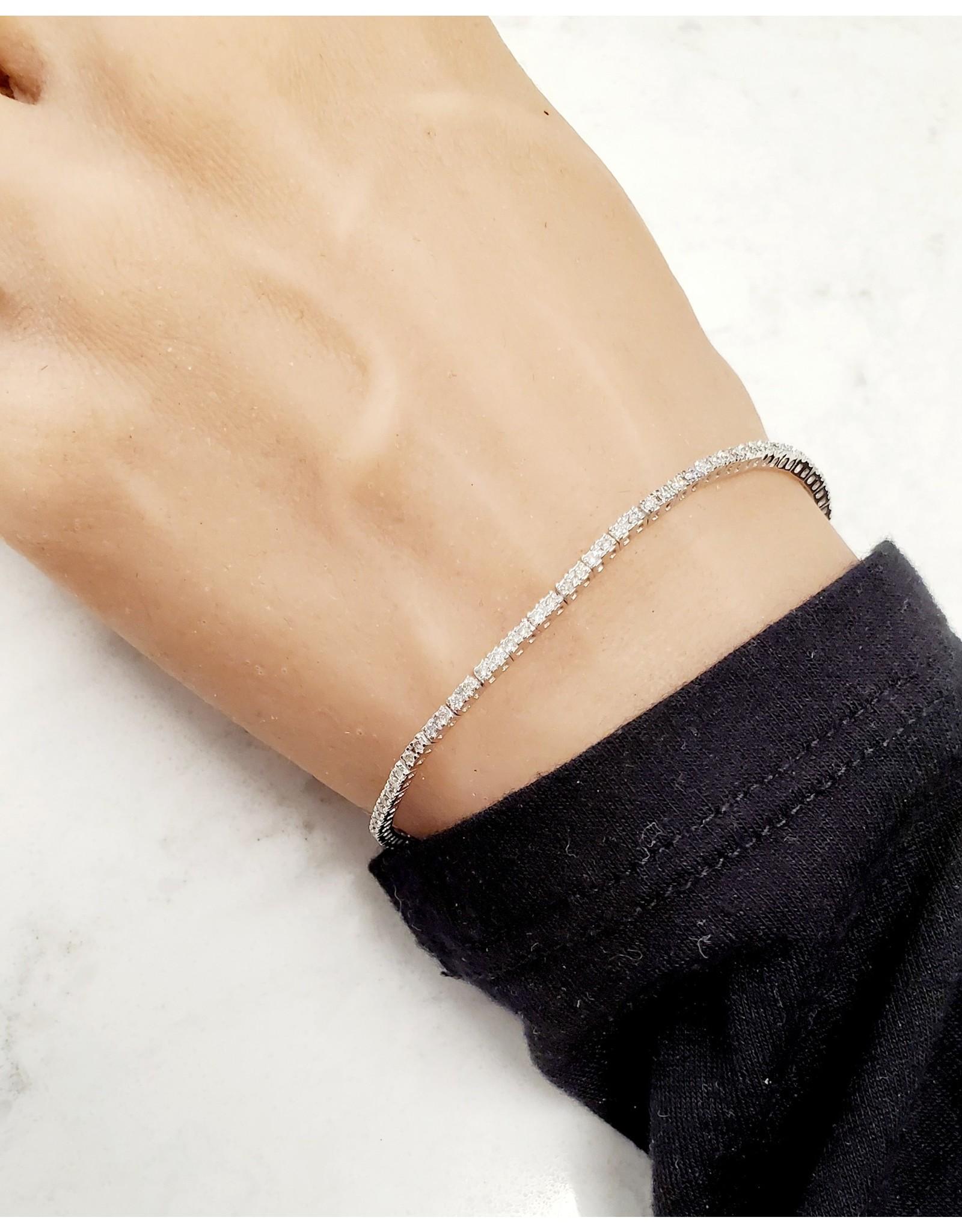 14K White Gold Dainty Diamond Tennis Bracelet, D: 1ct