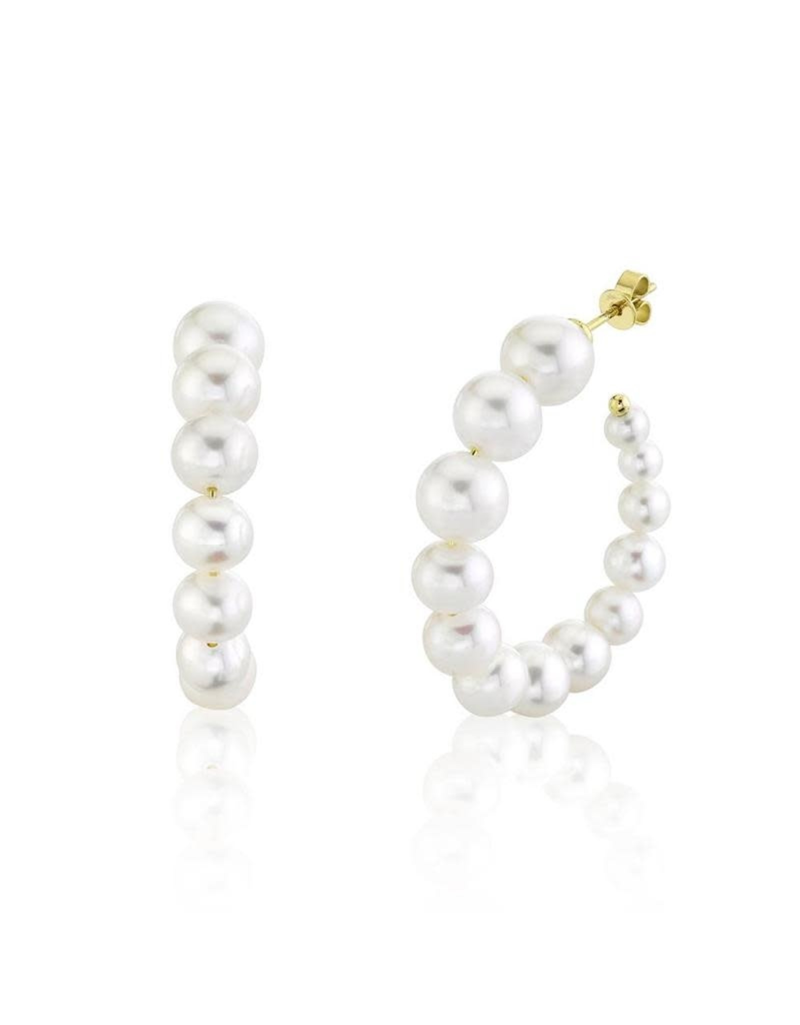 14K Yellow Gold Graduated Pearl Hoop Earrings