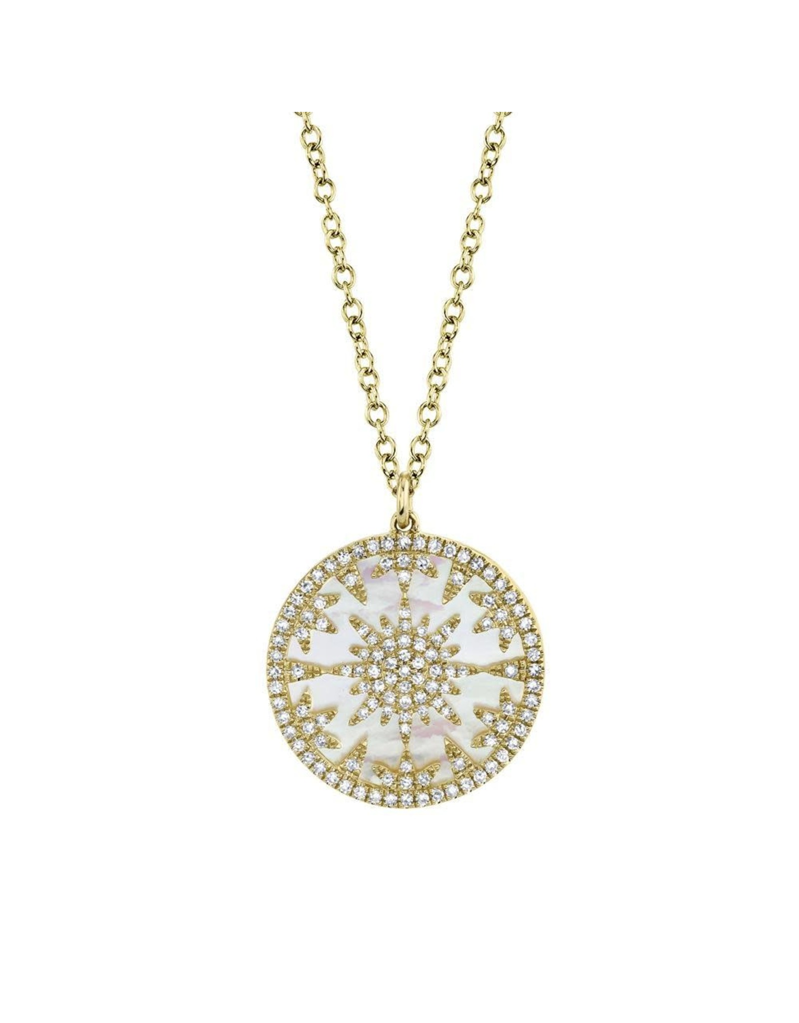 14K Yellow Gold Mother of Pearl and Diamond Medallion Necklace, D: 0.32ct, P: 2.88ct