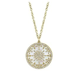 14K Y/G Mother of Pearl and Diamond Medallion Necklace