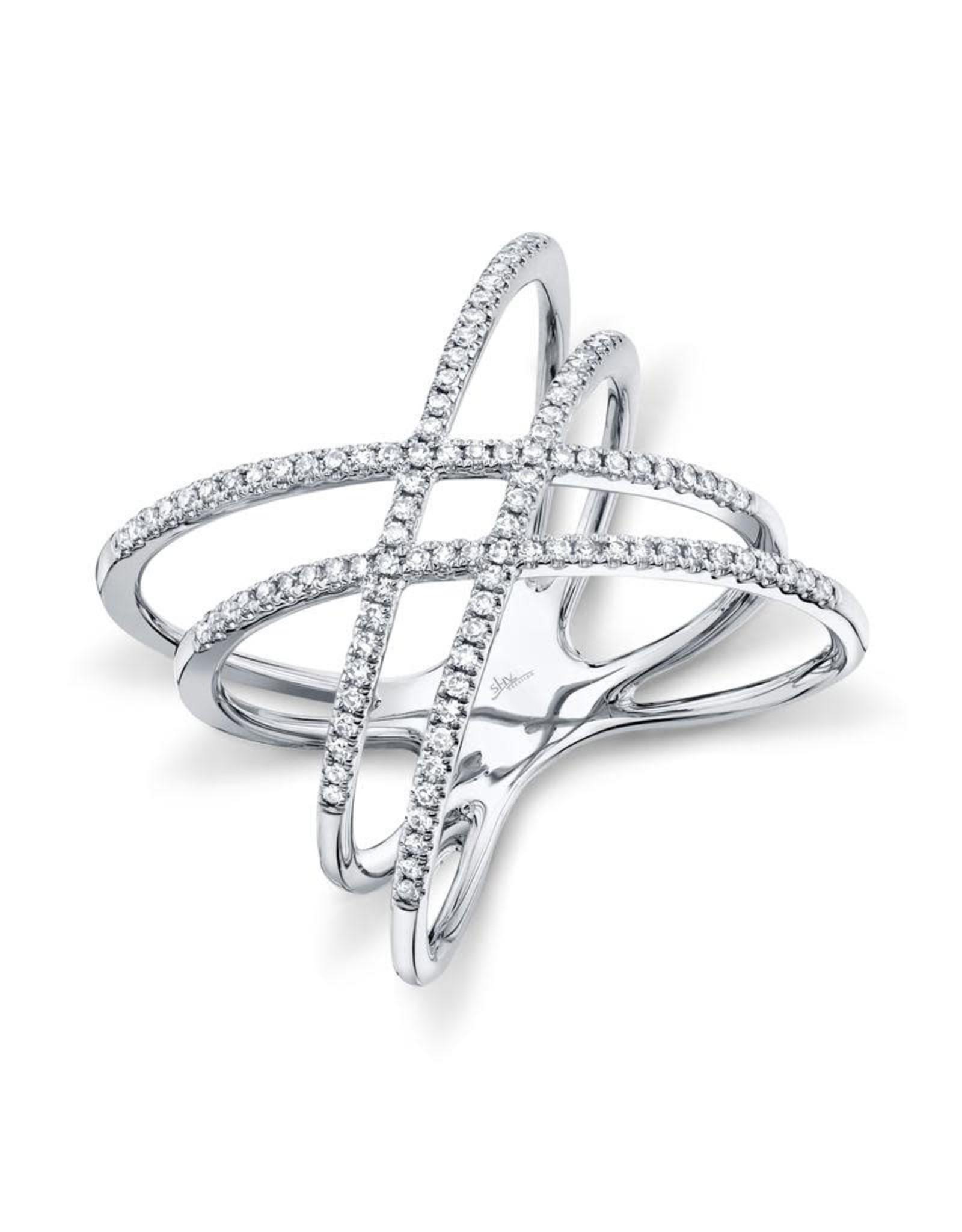 14K White Gold Double Diamond Criss Cross Ring, D: 0.32ct