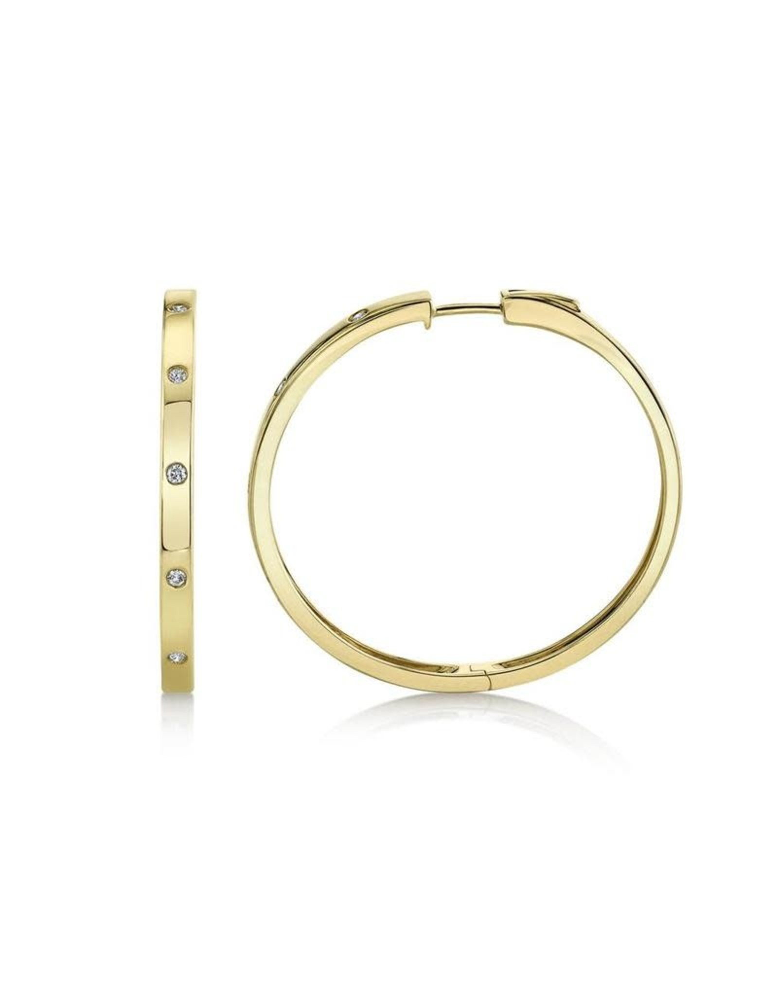 14K Yellow Gold Diamond Hoop Earrings, D: 0.19ct
