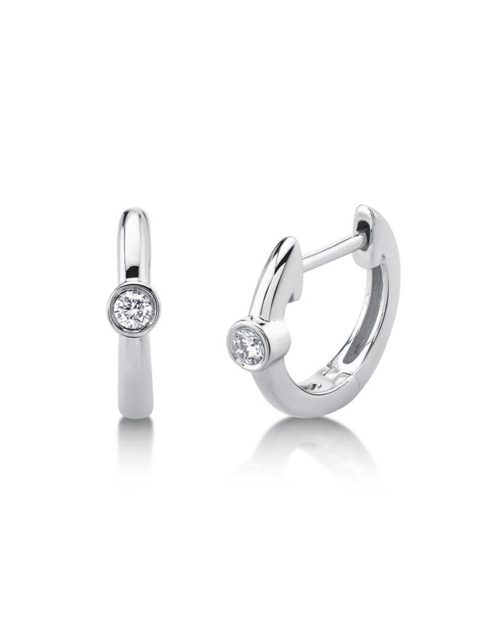 14K White Gold Bezel Diamond Huggie Earrings, D: 0.06ct