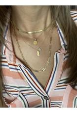 "14K Yellow Gold 3mm Herringbone Necklace, 16"""